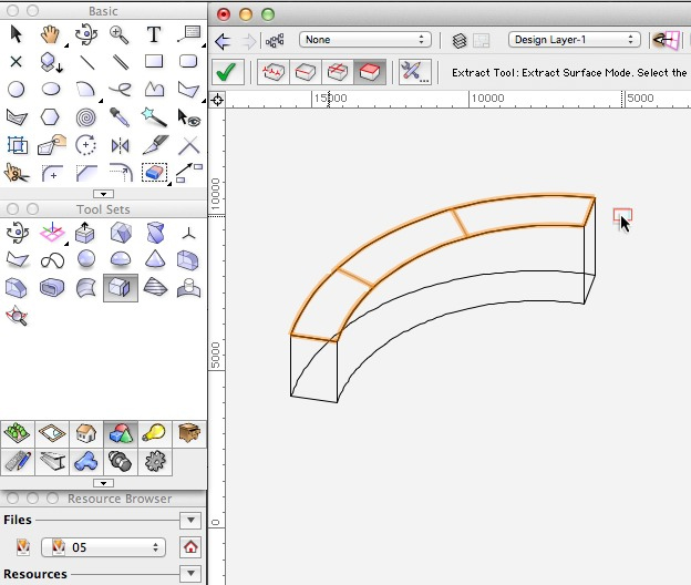 Vectorworks - Use the Extract Tool to create a NURBS surface