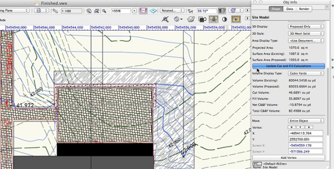 Vectorworks- Update Cut and Fill Calculations