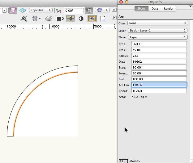 Vectorworks - Round wall representing  curved path
