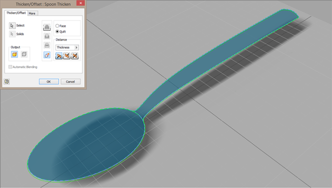 Autodesk Inventor surfaced spoon being thickned - Paul Munford
