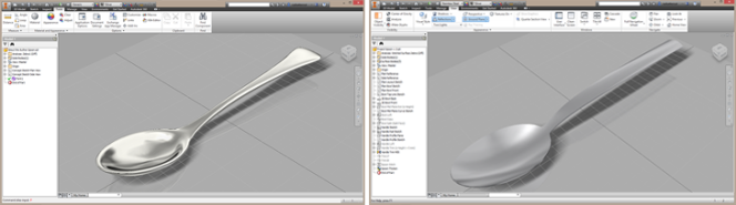 Autodesk Inventor Freeform T-Splines spoon and Autodesk Inventor Surfaced Spoon- Paul Munford